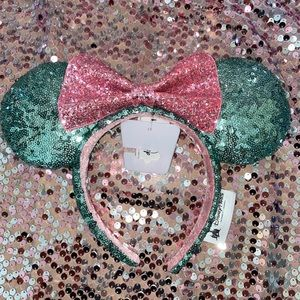 Disney Mickey Ears Mint Green Pink Bow